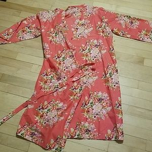 Coral and floral cotton bathrobe